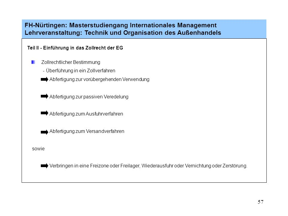 56 FH-Nürtingen: Masterstudiengang Internationales Management Lehrveranstaltung: Technik und Organisation des Außenhandels Einfuhrabgaben Zölle (Dritt