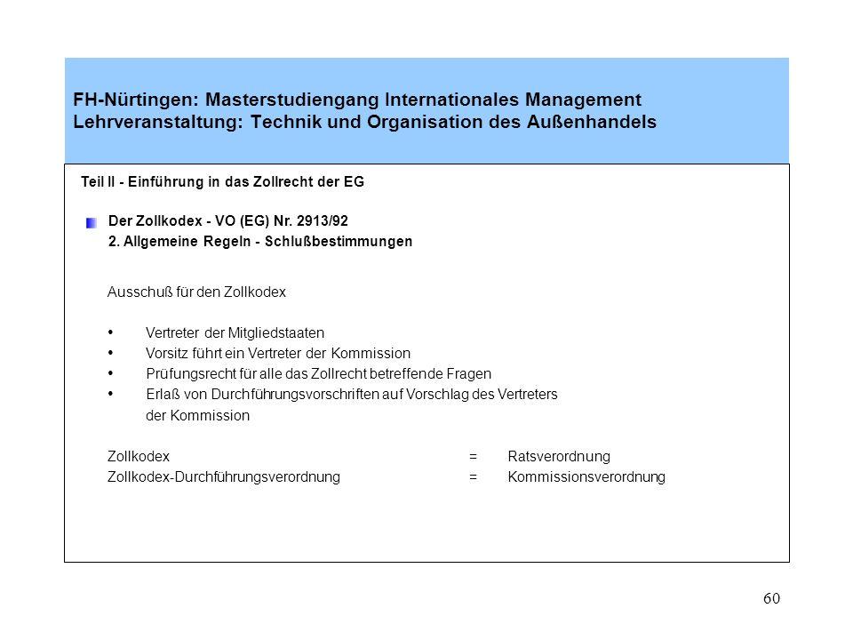 59 Teil II - Einführung in das Zollrecht der EG Der Zollkodex - VO (EG) Nr. 2913/92 2. Allgemeine Regeln - Stellvertretung Vertreter muß in der Gemein