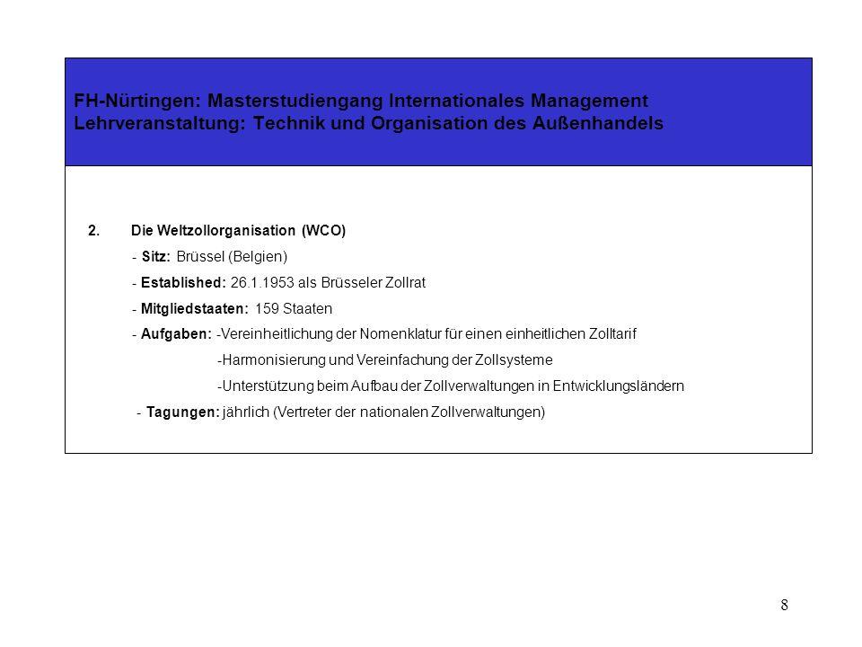208 FH-Nürtingen: Masterstudiengang Internationales Management Lehrveranstaltung: Technik und Organisation des Außenhandels Teil IV - Die außenwirtschaftsrechtlichen Vorschriften Kleinsendungen Soweit die Ausfuhr keinen Beschränkungen unterliegt, und der Warenwert bei einer Ausfuhr 3.000 ECU (müsste eigentlich 3.000 lauten) nicht überschreitet, braucht das Verfahren bei der Ausfuhrzollstelle nicht durchgeführt werden (Art.