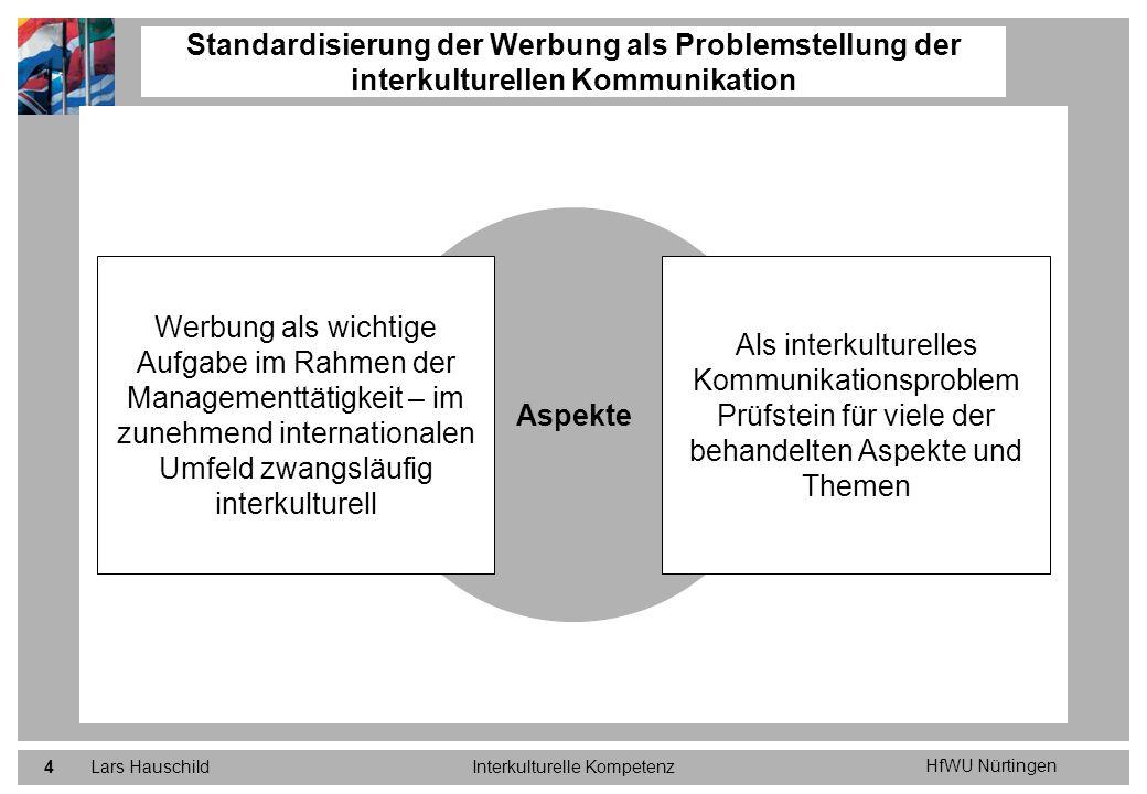HfWU Nürtingen Lars HauschildInterkulturelle Kompetenz4 Standardisierung der Werbung als Problemstellung der interkulturellen Kommunikation Aspekte Al