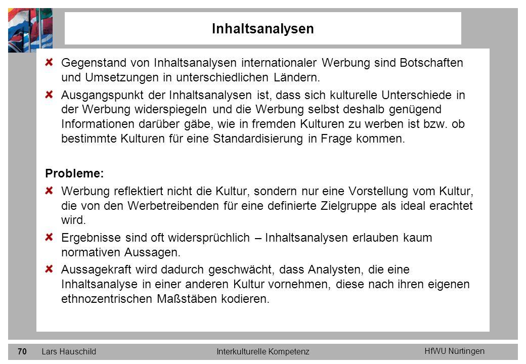 HfWU Nürtingen Lars HauschildInterkulturelle Kompetenz70 Gegenstand von Inhaltsanalysen internationaler Werbung sind Botschaften und Umsetzungen in un