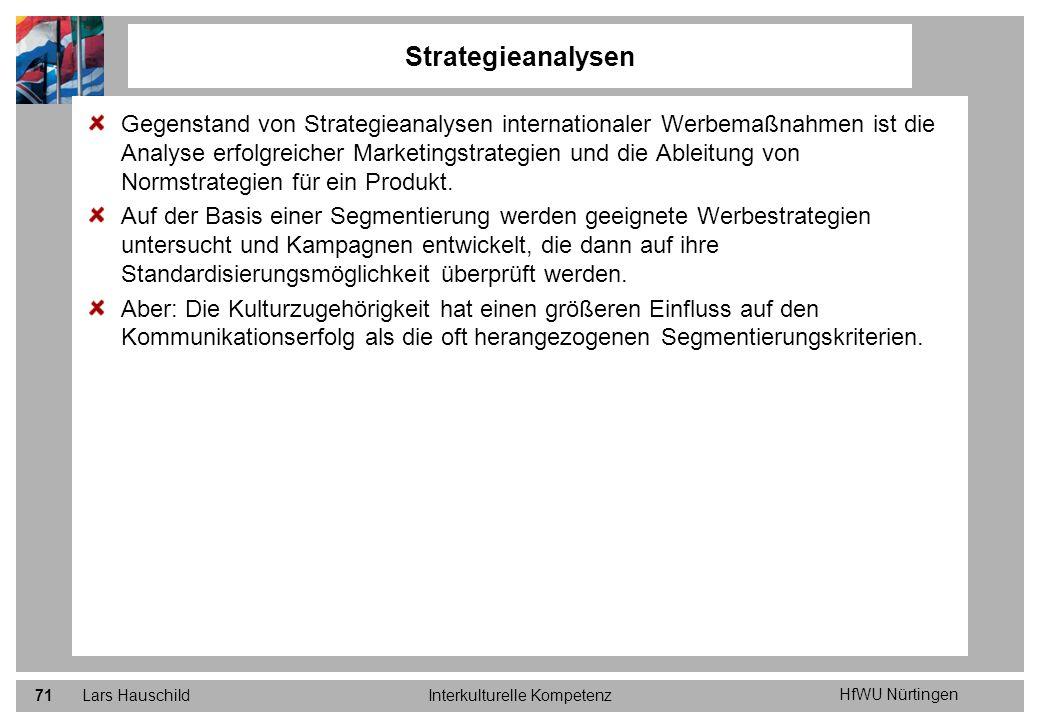 HfWU Nürtingen Lars HauschildInterkulturelle Kompetenz71 Gegenstand von Strategieanalysen internationaler Werbemaßnahmen ist die Analyse erfolgreicher