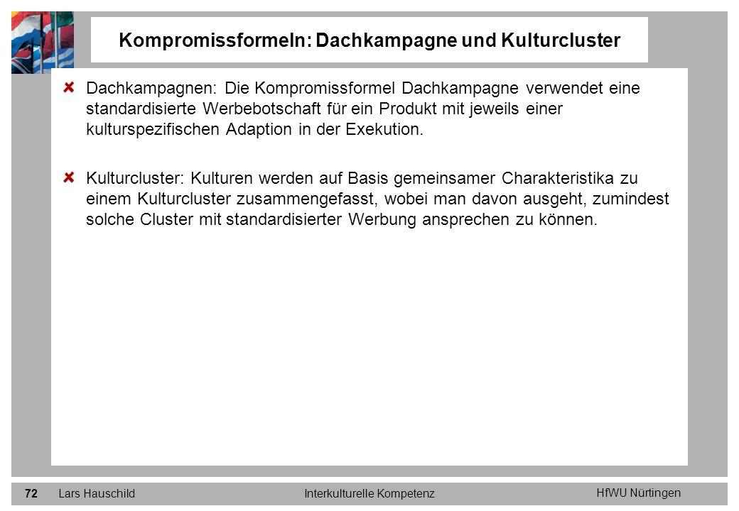 HfWU Nürtingen Lars HauschildInterkulturelle Kompetenz72 Dachkampagnen: Die Kompromissformel Dachkampagne verwendet eine standardisierte Werbebotschaf
