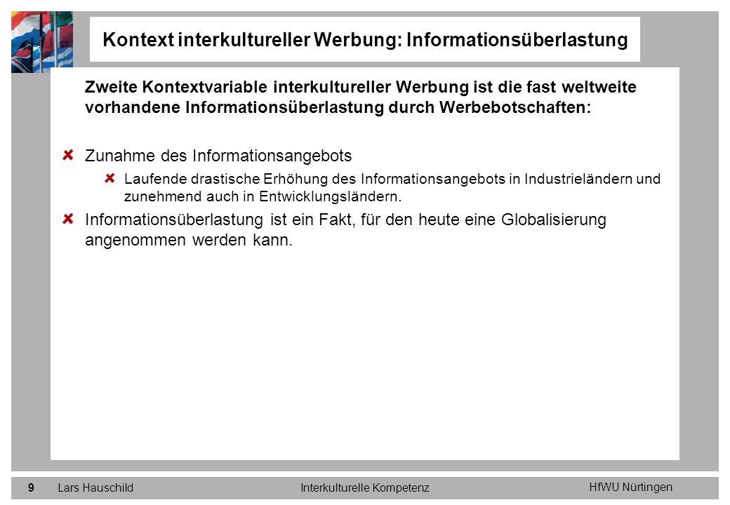HfWU Nürtingen Lars HauschildInterkulturelle Kompetenz9 Zweite Kontextvariable interkultureller Werbung ist die fast weltweite vorhandene Informations