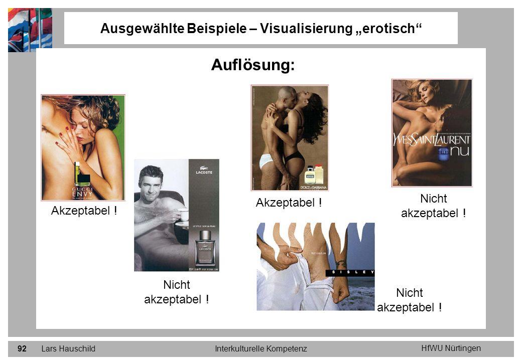 HfWU Nürtingen Lars HauschildInterkulturelle Kompetenz92 Ausgewählte Beispiele – Visualisierung erotisch Auflösung: Akzeptabel ! Nicht akzeptabel !