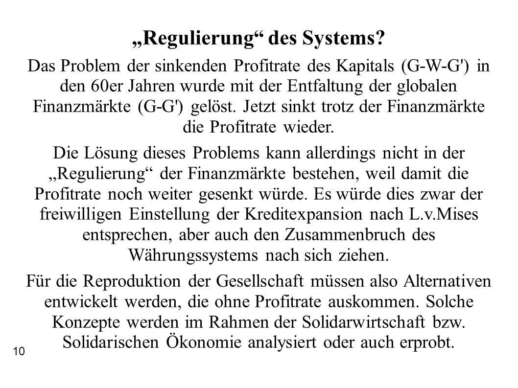 Regulierung des Systems? Das Problem der sinkenden Profitrate des Kapitals (G-W-G') in den 60er Jahren wurde mit der Entfaltung der globalen Finanzmär