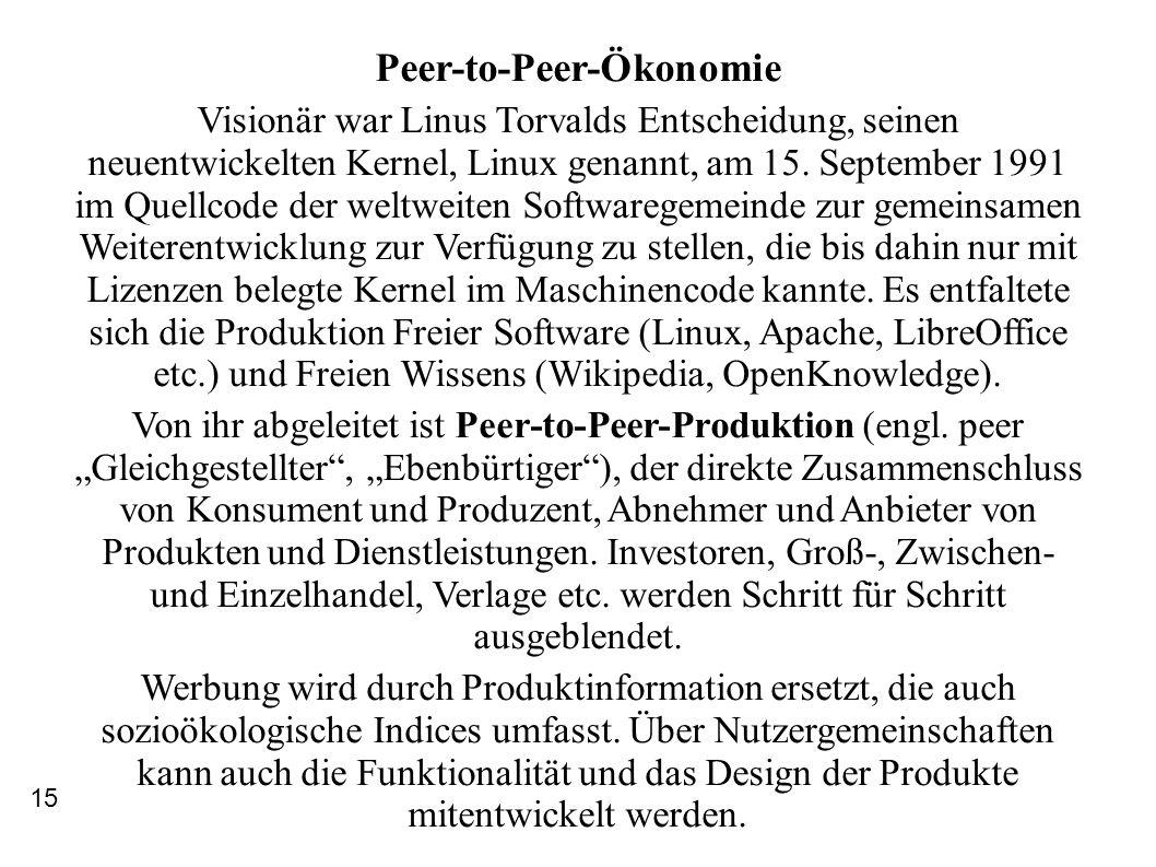 Peer-to-Peer-Ökonomie Visionär war Linus Torvalds Entscheidung, seinen neuentwickelten Kernel, Linux genannt, am 15. September 1991 im Quellcode der w
