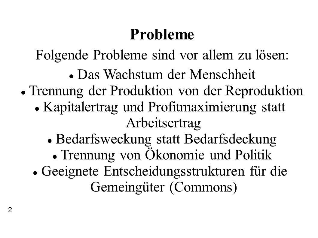Probleme Folgende Probleme sind vor allem zu lösen: Das Wachstum der Menschheit Trennung der Produktion von der Reproduktion Kapitalertrag und Profitm