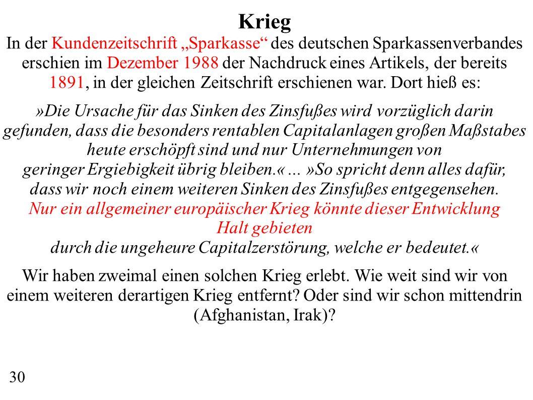 Krieg In der Kundenzeitschrift Sparkasse des deutschen Sparkassenverbandes erschien im Dezember 1988 der Nachdruck eines Artikels, der bereits 1891, in der gleichen Zeitschrift erschienen war.