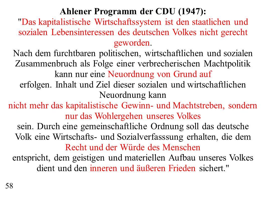 Ahlener Programm der CDU (1947): Das kapitalistische Wirtschaftssystem ist den staatlichen und sozialen Lebensinteressen des deutschen Volkes nicht gerecht geworden.