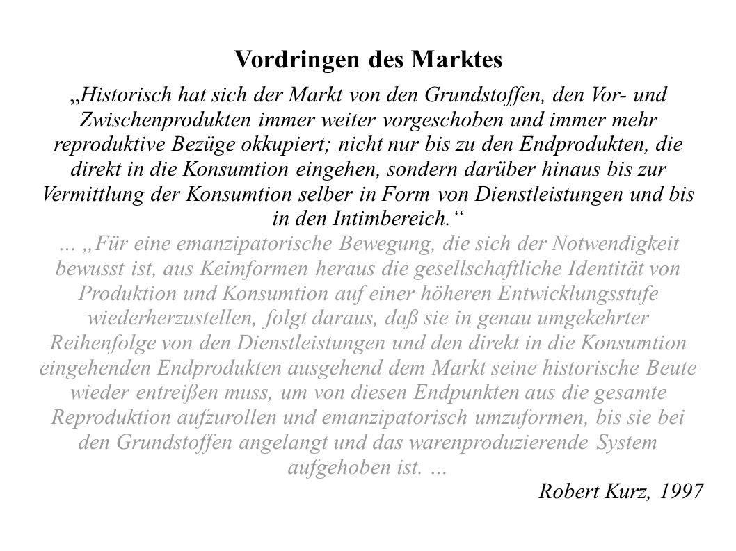 Vordringen des Marktes Historisch hat sich der Markt von den Grundstoffen, den Vor- und Zwischenprodukten immer weiter vorgeschoben und immer mehr rep