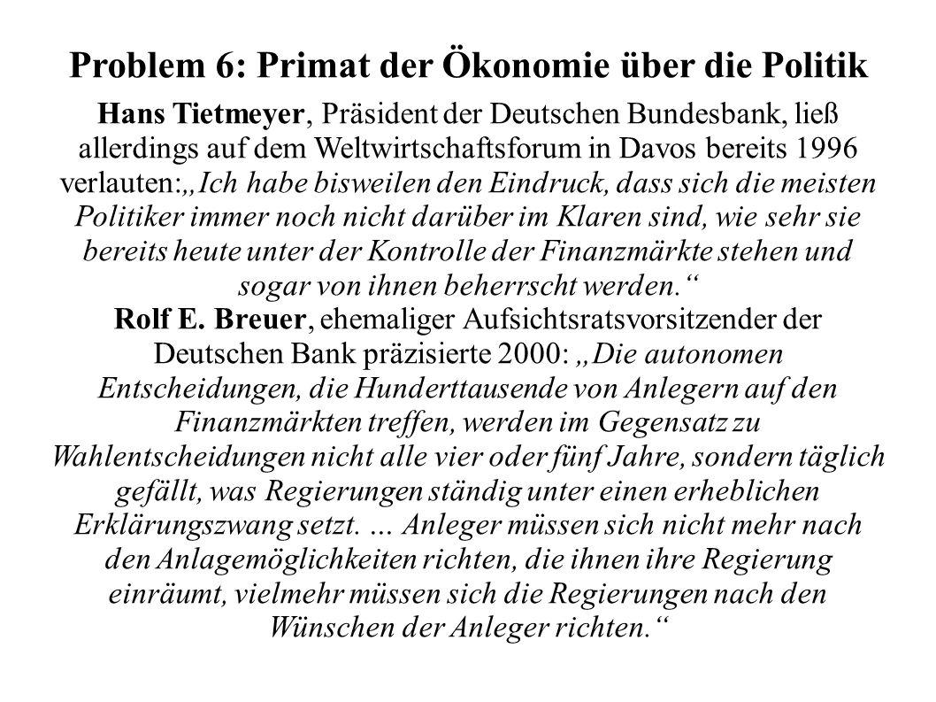 Problem 6: Primat der Ökonomie über die Politik Hans Tietmeyer, Präsident der Deutschen Bundesbank, ließ allerdings auf dem Weltwirtschaftsforum in Da