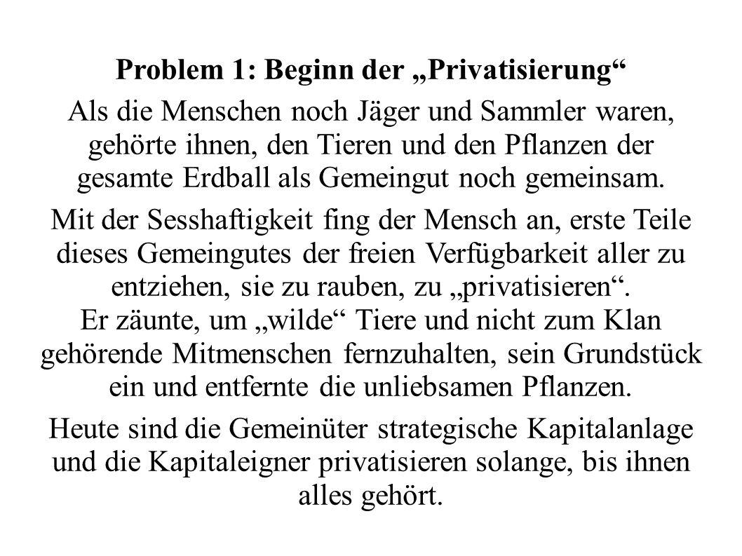 Problem 1: Beginn der Privatisierung Als die Menschen noch Jäger und Sammler waren, gehörte ihnen, den Tieren und den Pflanzen der gesamte Erdball als
