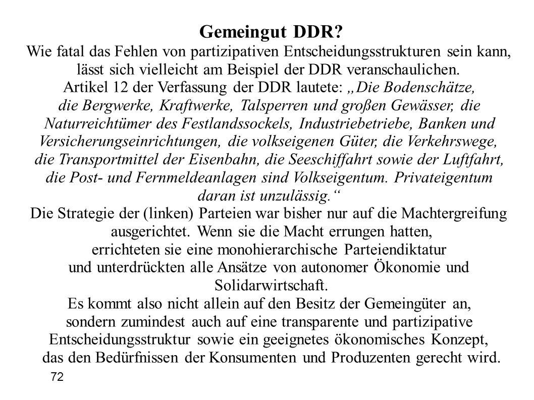 Gemeingut DDR? Wie fatal das Fehlen von partizipativen Entscheidungsstrukturen sein kann, lässt sich vielleicht am Beispiel der DDR veranschaulichen.