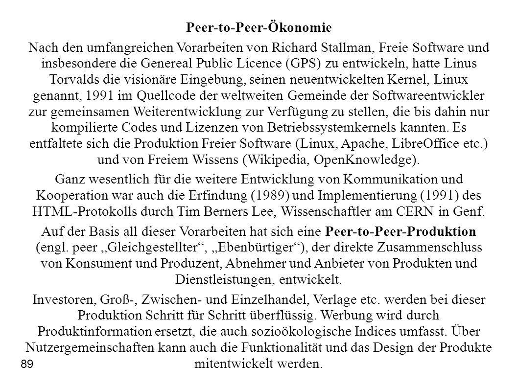 Peer-to-Peer-Ökonomie Nach den umfangreichen Vorarbeiten von Richard Stallman, Freie Software und insbesondere die Genereal Public Licence (GPS) zu en