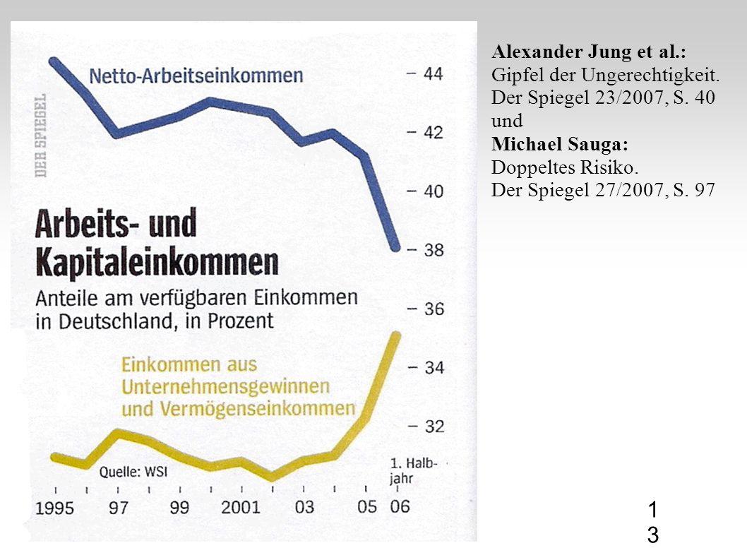 Alexander Jung et al.: Gipfel der Ungerechtigkeit. Der Spiegel 23/2007, S. 40 und Michael Sauga: Doppeltes Risiko. Der Spiegel 27/2007, S. 97 13