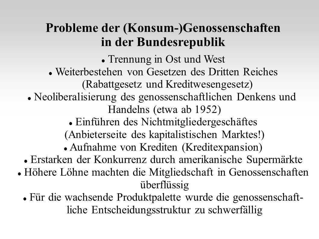 Probleme der (Konsum-)Genossenschaften in der Bundesrepublik Trennung in Ost und West Weiterbestehen von Gesetzen des Dritten Reiches (Rabattgesetz un