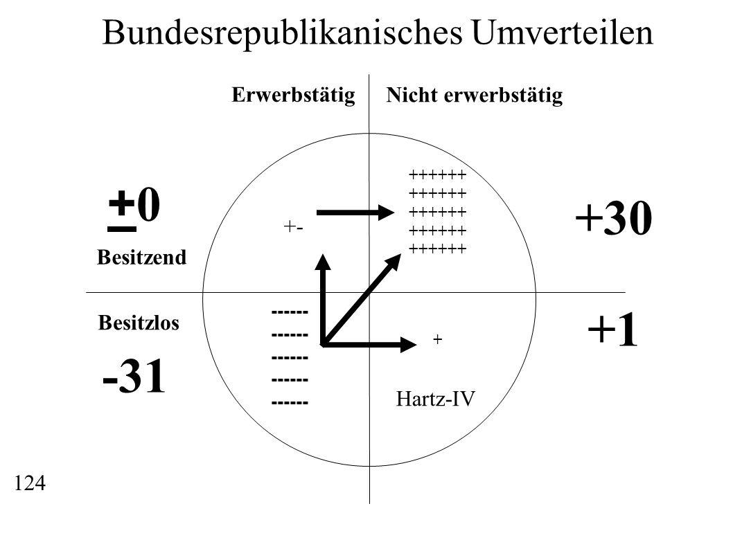 Erwerbstätig Nicht erwerbstätig Besitzend Besitzlos ------ ++++++ + Bundesrepublikanisches Umverteilen +30 +1 Hartz-IV -31 +0+0 +- 124