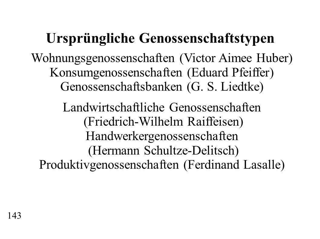 Ursprüngliche Genossenschaftstypen Wohnungsgenossenschaften (Victor Aimee Huber) Konsumgenossenschaften (Eduard Pfeiffer) Genossenschaftsbanken (G. S.