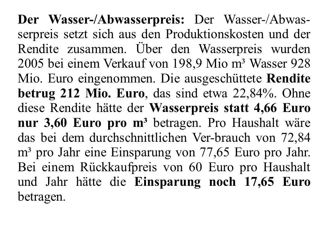 Der Wasser-/Abwasserpreis: Der Wasser-/Abwas- serpreis setzt sich aus den Produktionskosten und der Rendite zusammen. Über den Wasserpreis wurden 2005