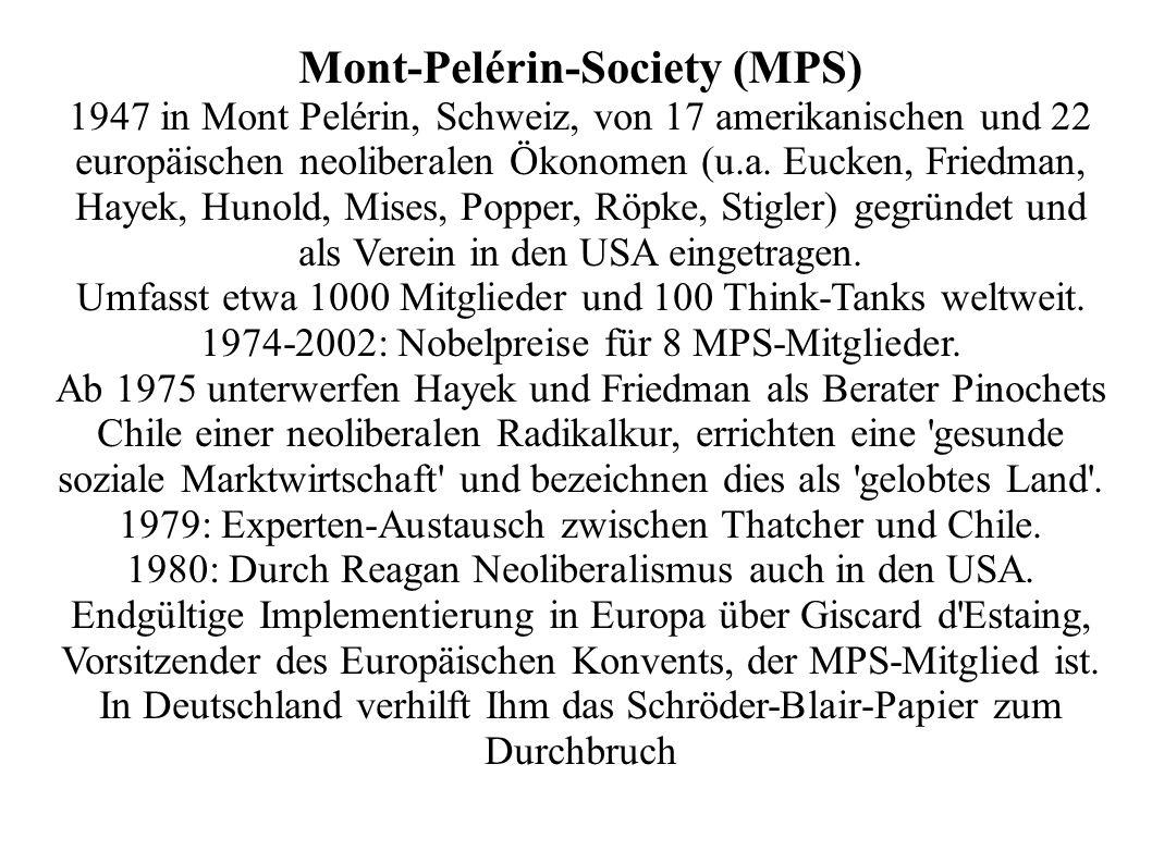 Mont-Pelérin-Society (MPS) 1947 in Mont Pelérin, Schweiz, von 17 amerikanischen und 22 europäischen neoliberalen Ökonomen (u.a. Eucken, Friedman, Haye