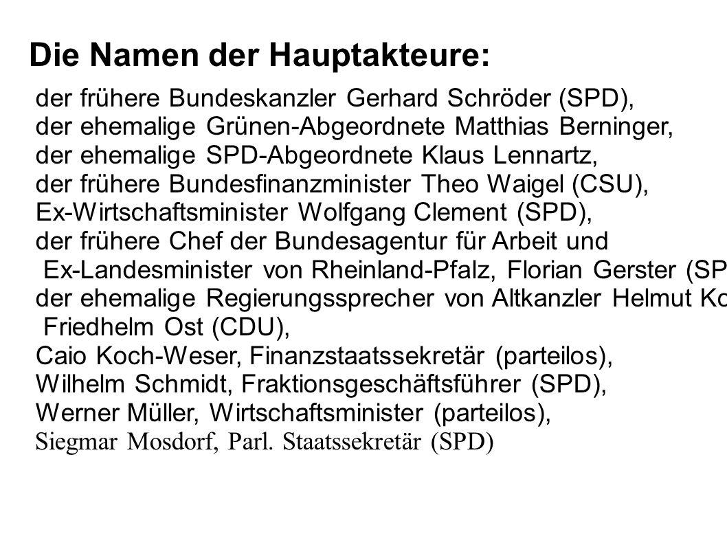 Die Namen der Hauptakteure: der frühere Bundeskanzler Gerhard Schröder (SPD), der ehemalige Grünen-Abgeordnete Matthias Berninger, der ehemalige SPD-A