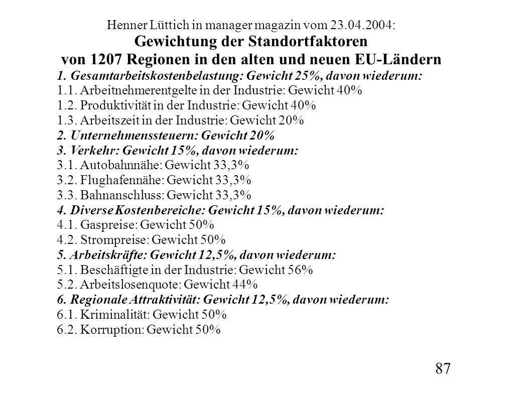 Henner Lüttich in manager magazin vom 23.04.2004: Gewichtung der Standortfaktoren von 1207 Regionen in den alten und neuen EU-Ländern 1. Gesamtarbeits
