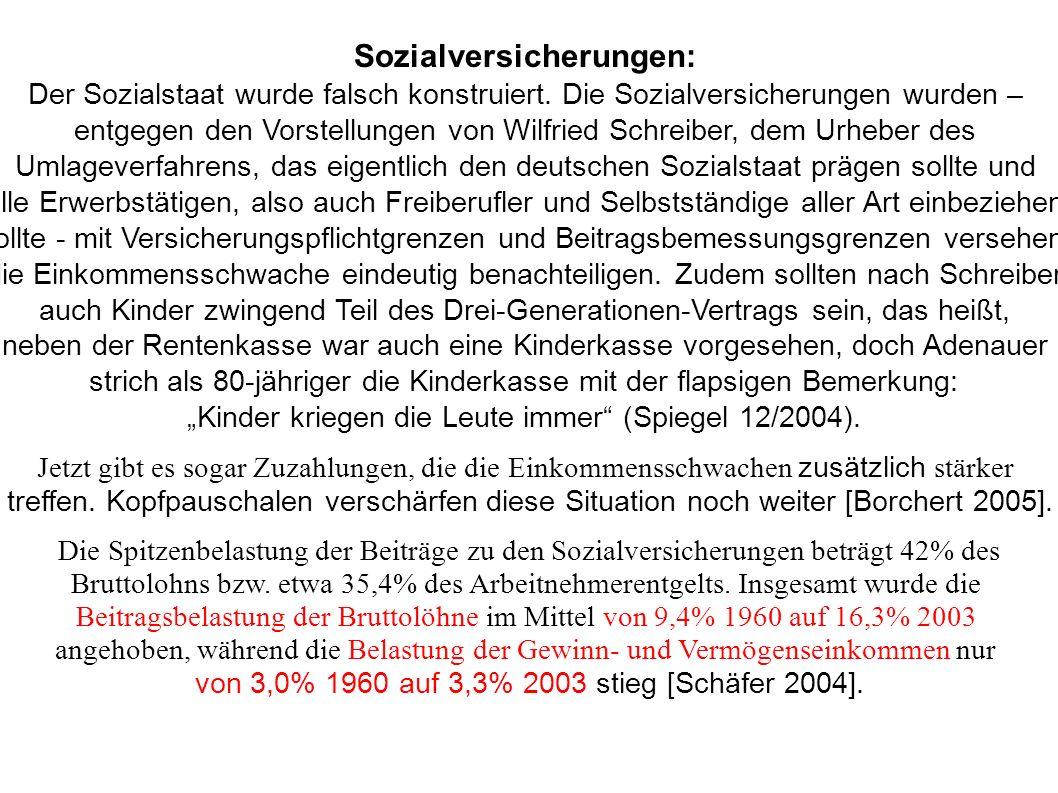 Sozialversicherungen: Der Sozialstaat wurde falsch konstruiert. Die Sozialversicherungen wurden – entgegen den Vorstellungen von Wilfried Schreiber, d