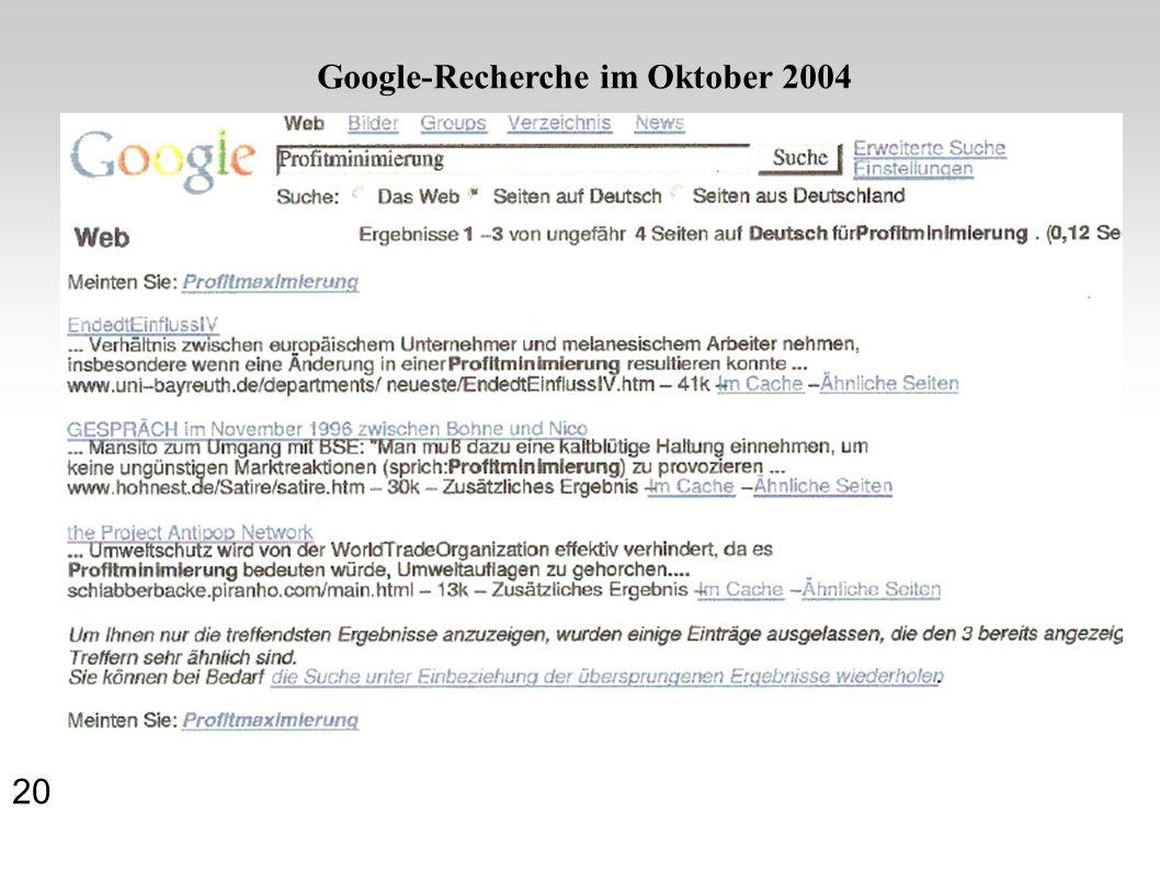 20 Google-Recherche im Oktober 2004