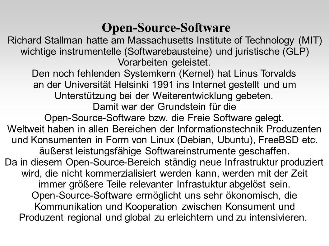 Open-Source-Software Richard Stallman hatte am Massachusetts Institute of Technology (MIT) wichtige instrumentelle (Softwarebausteine) und juristische (GLP) Vorarbeiten geleistet.