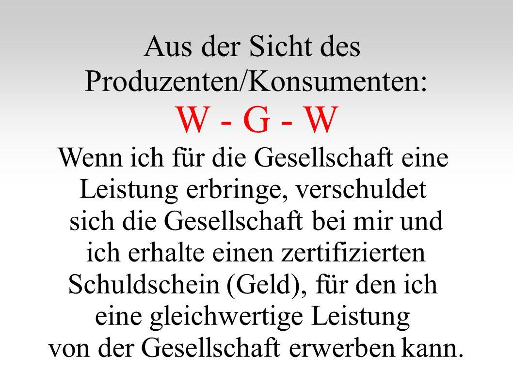 Aus der Sicht des Produzenten/Konsumenten: W - G - W Wenn ich für die Gesellschaft eine Leistung erbringe, verschuldet sich die Gesellschaft bei mir und ich erhalte einen zertifizierten Schuldschein (Geld), für den ich eine gleichwertige Leistung von der Gesellschaft erwerben kann.