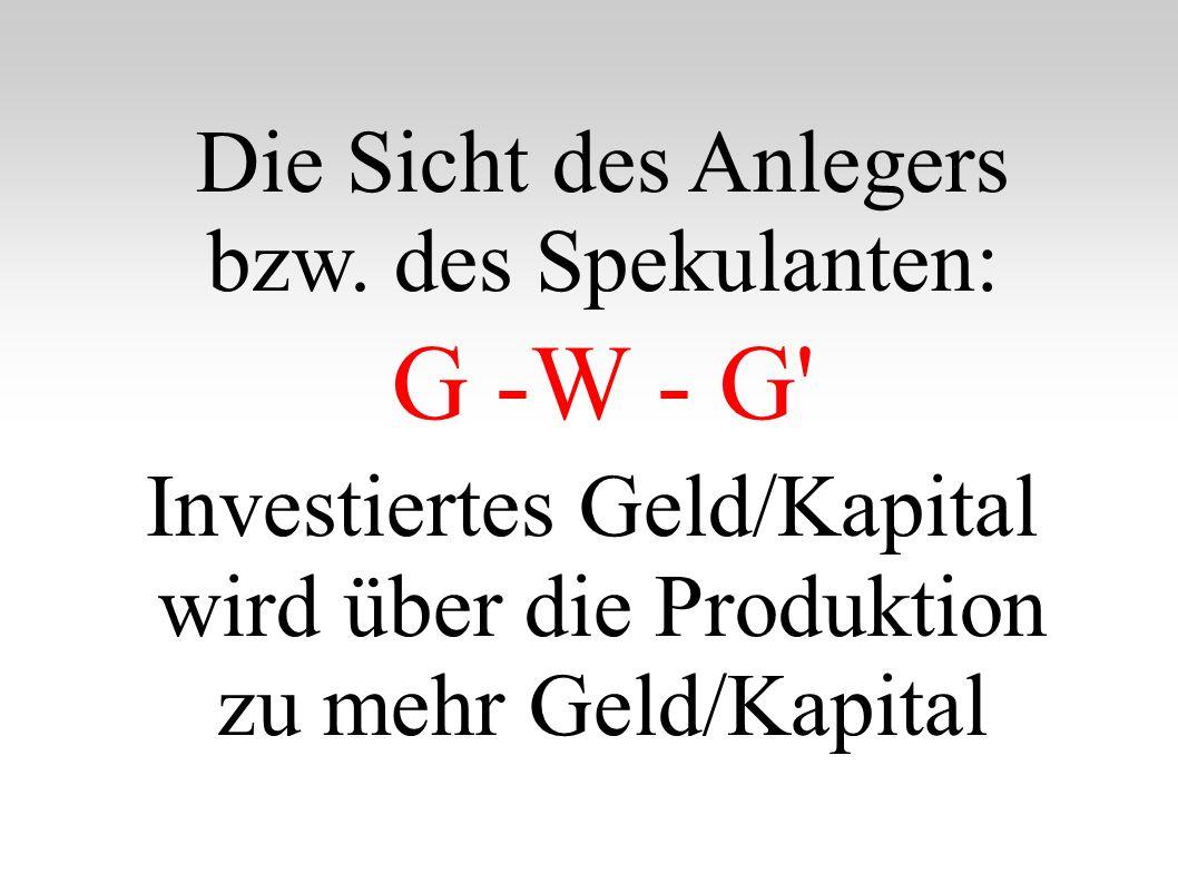 Die Sicht des Anlegers bzw.