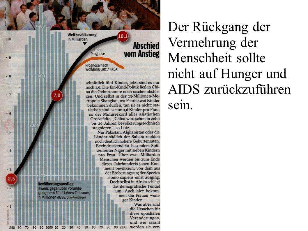 Der Rückgang der Vermehrung der Menschheit sollte nicht auf Hunger und AIDS zurückzuführen sein.