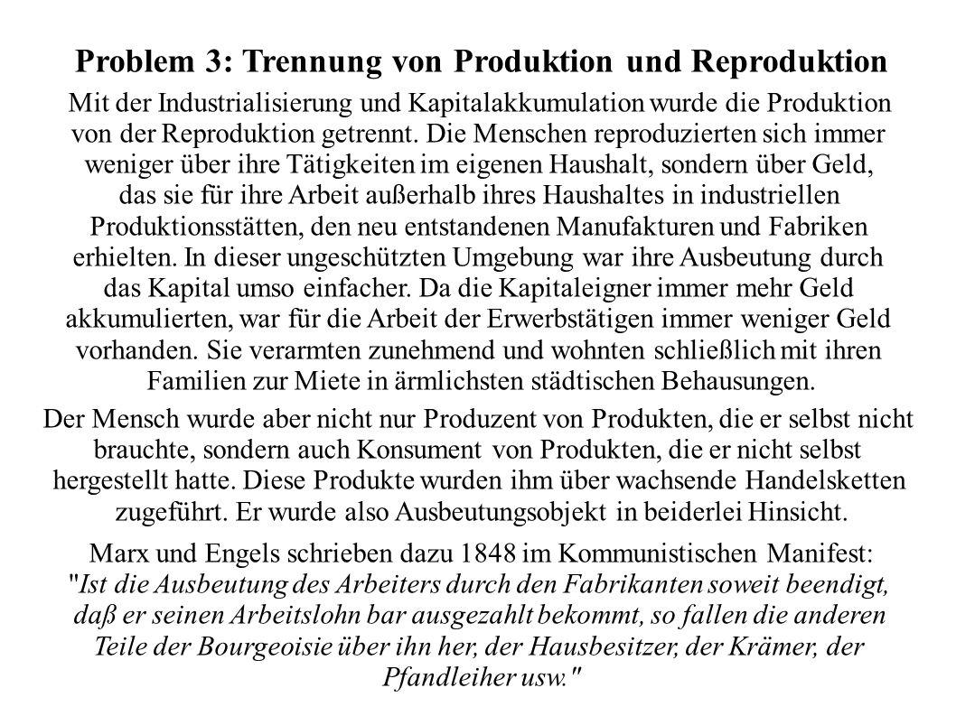 Problem 3: Trennung von Produktion und Reproduktion Mit der Industrialisierung und Kapitalakkumulation wurde die Produktion von der Reproduktion getre