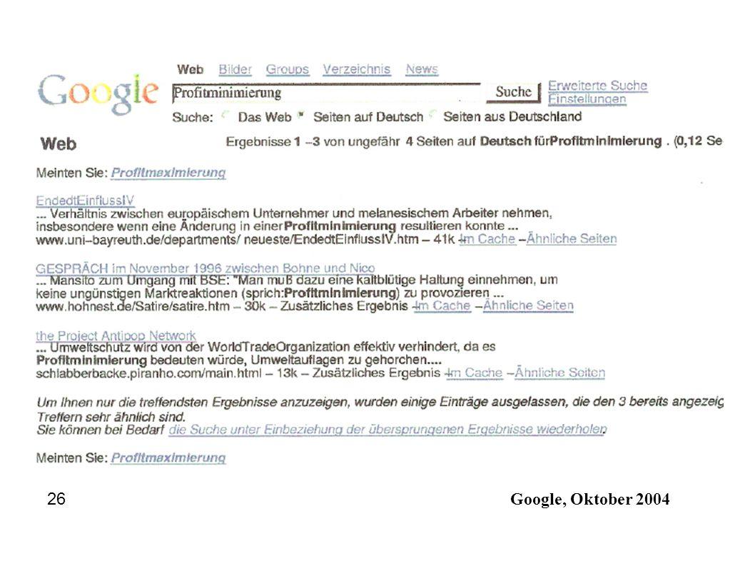Google, Oktober 2004 26