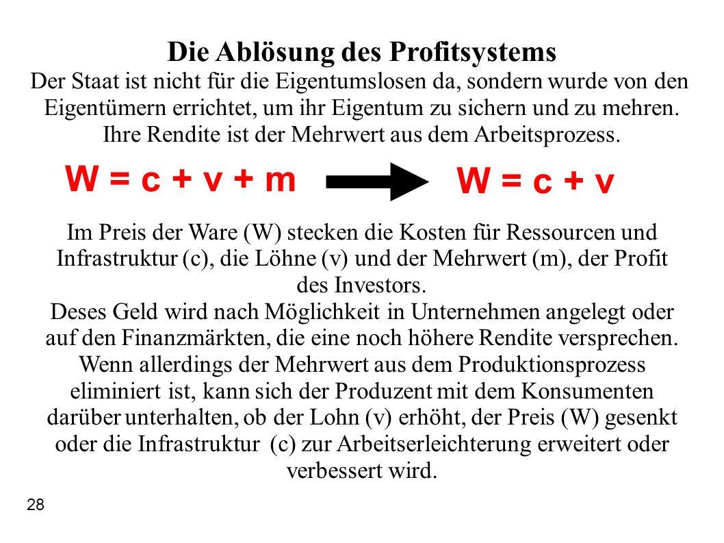W = c + v + m W = c + v Die Ablösung des Profitsystems Der Staat ist nicht für die Eigentumslosen da, sondern wurde von den Eigentümern errichtet, um