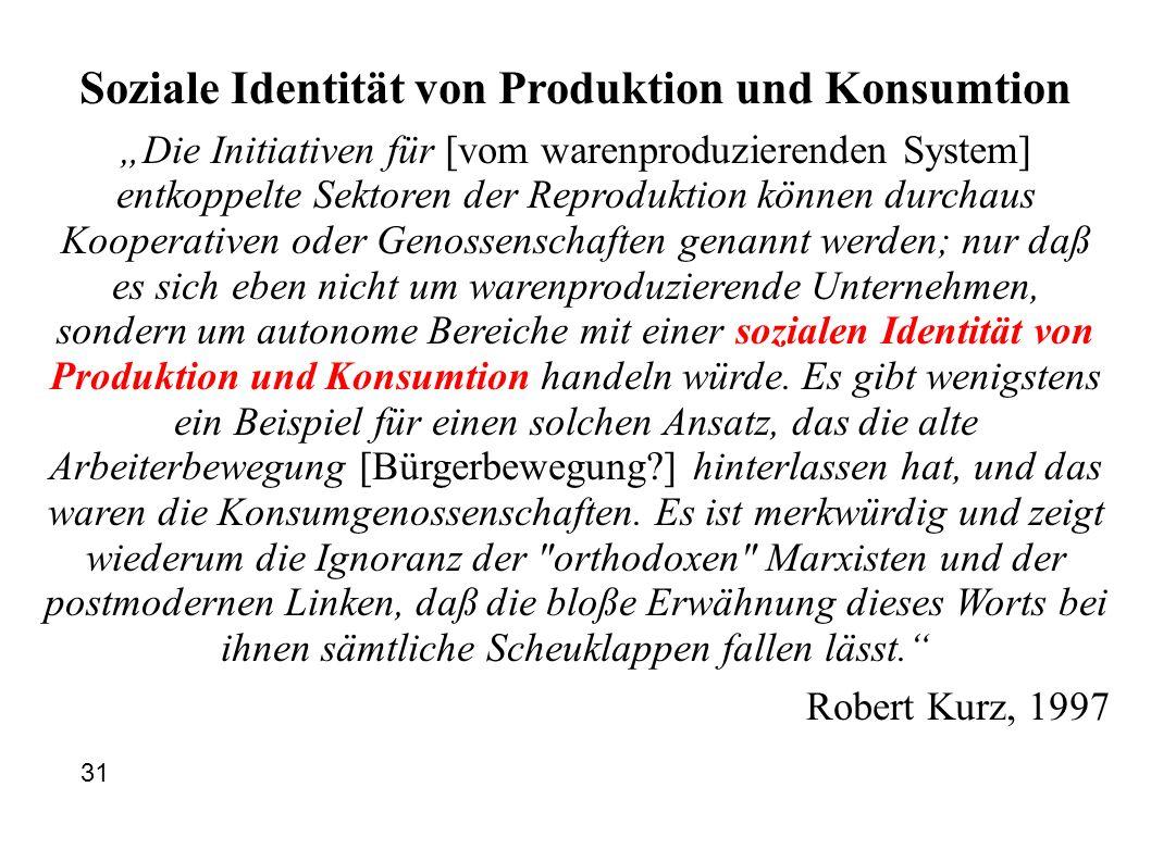 Soziale Identität von Produktion und Konsumtion Die Initiativen für [vom warenproduzierenden System] entkoppelte Sektoren der Reproduktion können durc