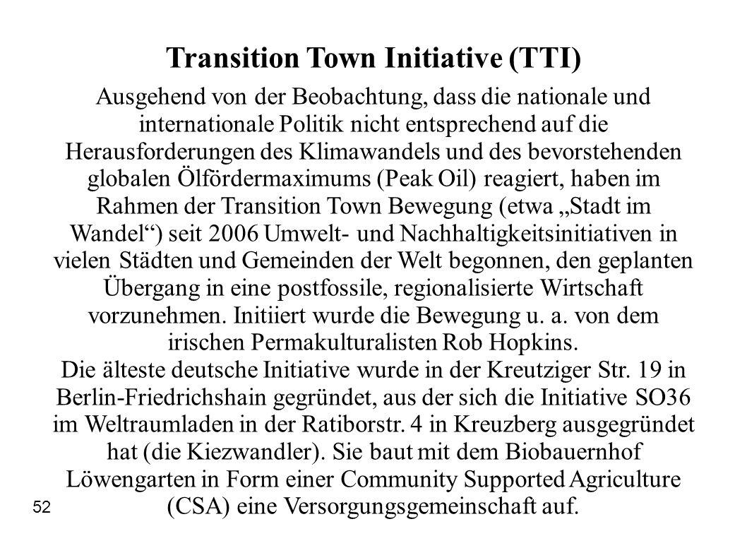 Transition Town Initiative (TTI) Ausgehend von der Beobachtung, dass die nationale und internationale Politik nicht entsprechend auf die Herausforderu