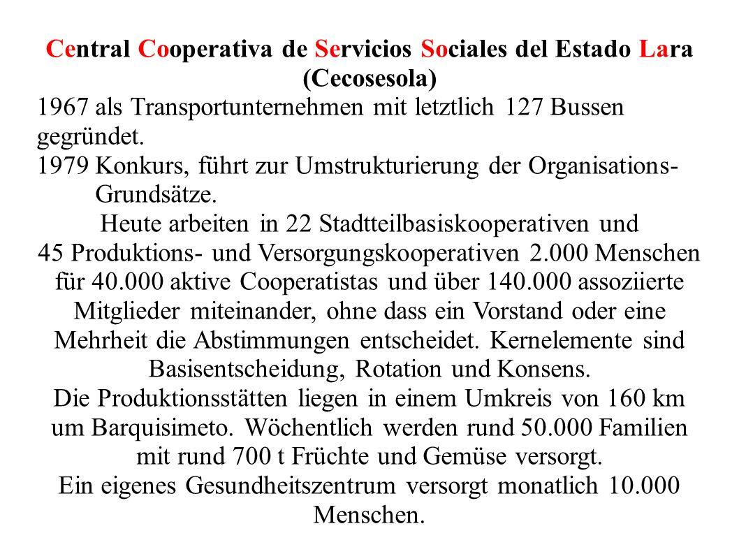Central Cooperativa de Servicios Sociales del Estado Lara (Cecosesola) 1967 als Transportunternehmen mit letztlich 127 Bussen gegründet. 1979 Konkurs,