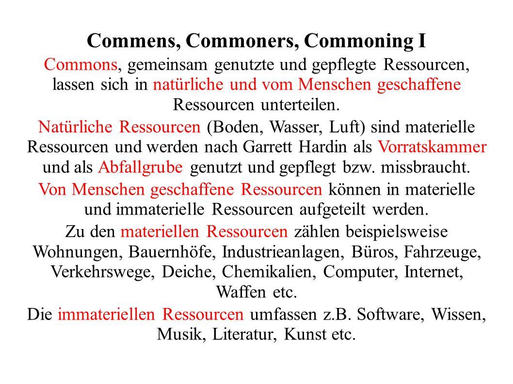 Commens, Commoners, Commoning II Als Commoners werden lexikalisch die einfachen Bürger, Menschen ohne Adelstitel, Personen, die das Recht haben, Gemeingut zu nutzen, Studenten ohne Stipendium, Mitglieder des Unterhauses etc.