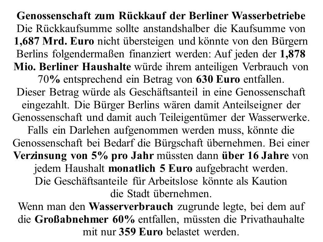 Genossenschaft zum Rückkauf der Berliner Wasserbetriebe Die Rückkaufsumme sollte anstandshalber die Kaufsumme von 1,687 Mrd.