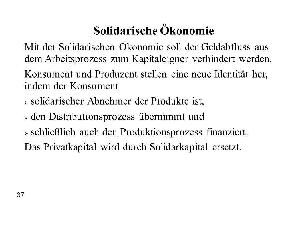 Solidarische Ökonomie Mit der Solidarischen Ökonomie soll der Geldabfluss aus dem Arbeitsprozess zum Kapitaleigner verhindert werden. Konsument und Pr
