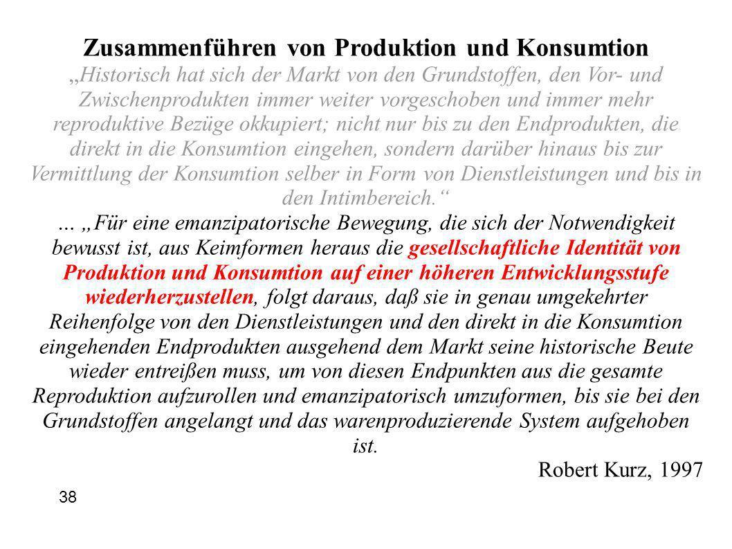 Zusammenführen von Produktion und Konsumtion Historisch hat sich der Markt von den Grundstoffen, den Vor- und Zwischenprodukten immer weiter vorgescho