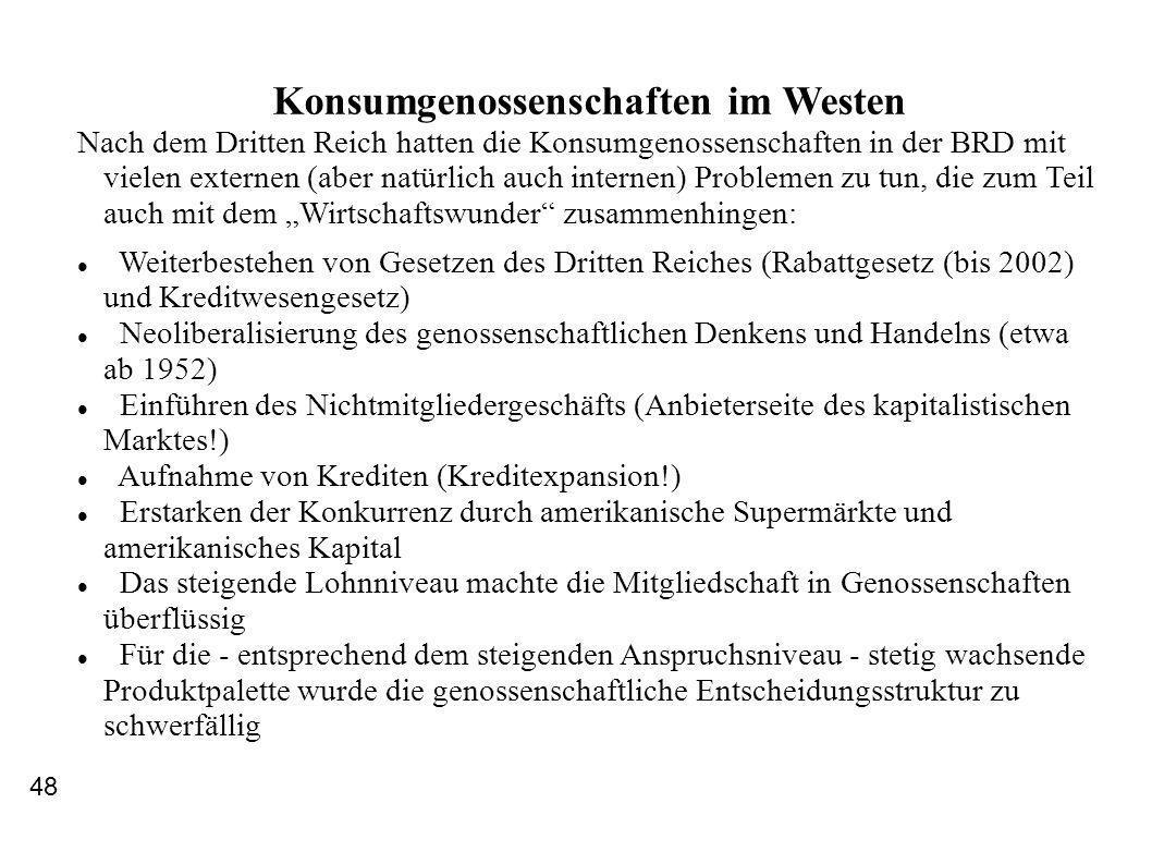 Konsumgenossenschaften im Westen Nach dem Dritten Reich hatten die Konsumgenossenschaften in der BRD mit vielen externen (aber natürlich auch internen