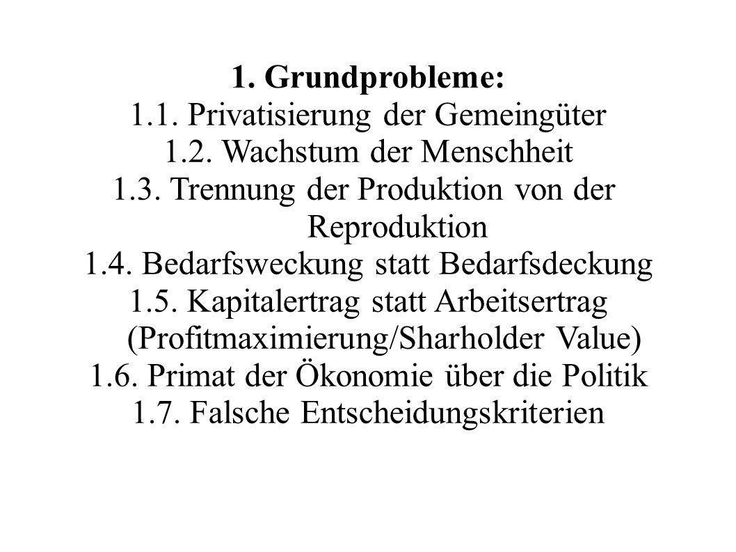 1. Grundprobleme: 1.1. Privatisierung der Gemeingüter 1.2. Wachstum der Menschheit 1.3. Trennung der Produktion von der Reproduktion 1.4. Bedarfswecku