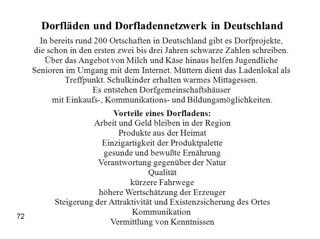 Dorfläden und Dorfladennetzwerk in Deutschland In bereits rund 200 Ortschaften in Deutschland gibt es Dorfprojekte, die schon in den ersten zwei bis d