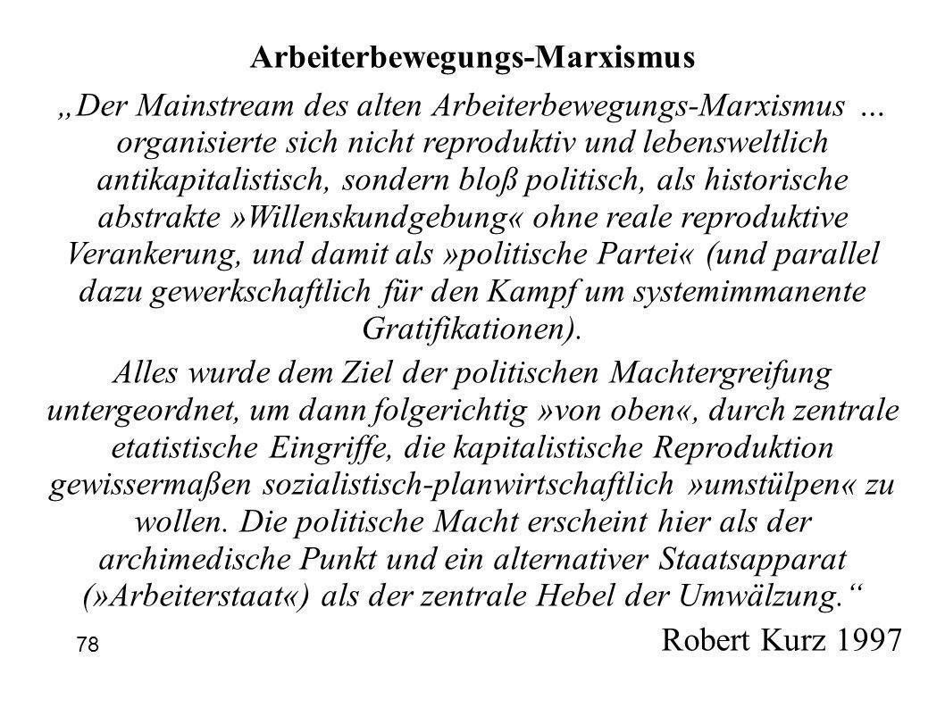 Arbeiterbewegungs-Marxismus Der Mainstream des alten Arbeiterbewegungs-Marxismus … organisierte sich nicht reproduktiv und lebensweltlich antikapitali