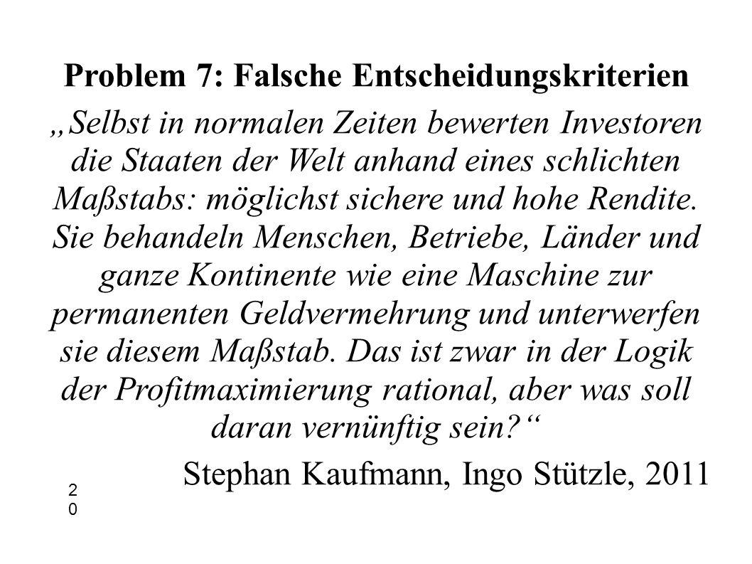 Problem 7: Falsche Entscheidungskriterien Selbst in normalen Zeiten bewerten Investoren die Staaten der Welt anhand eines schlichten Maßstabs: möglich
