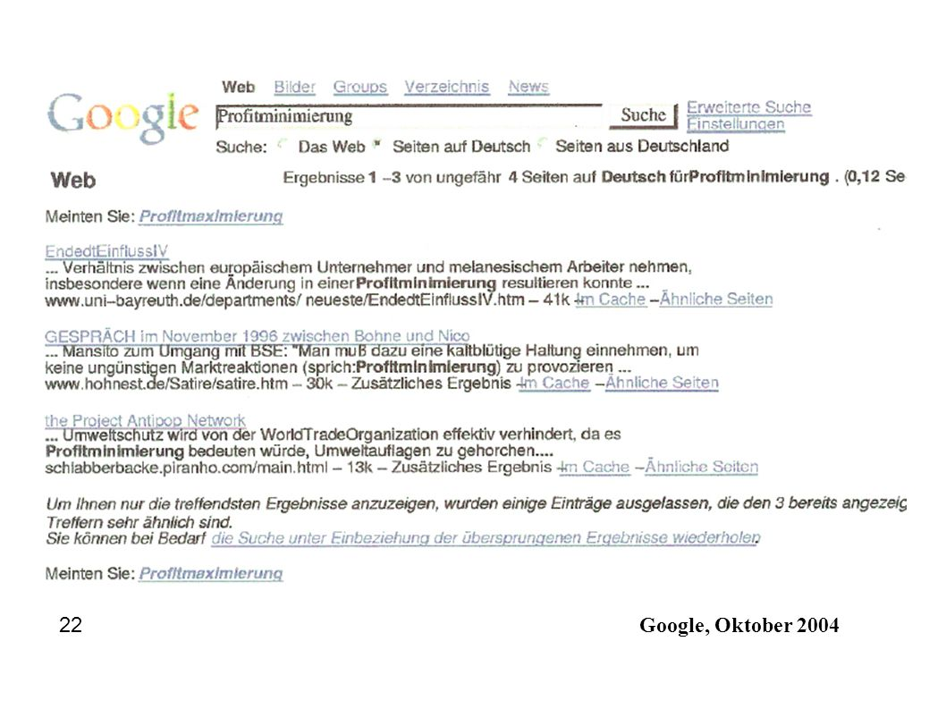 Google, Oktober 2004 22