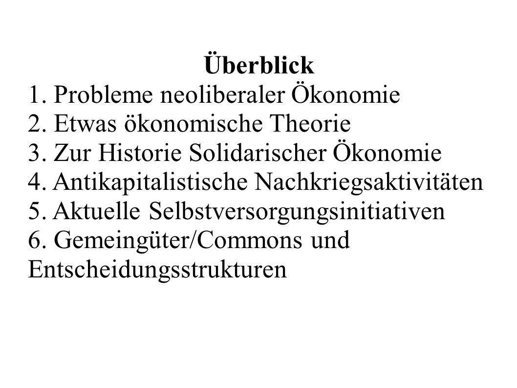 Überblick 1. Probleme neoliberaler Ökonomie 2. Etwas ökonomische Theorie 3. Zur Historie Solidarischer Ökonomie 4. Antikapitalistische Nachkriegsaktiv